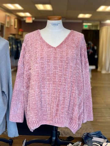*Chenille Sweater Pink