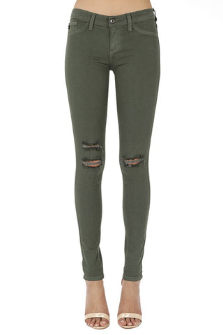 *Elaina Kan Can Olive Stretch Distressed Skinnies