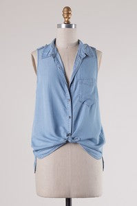 Denim Button Down Sleeveless Top