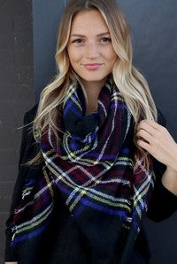 Black Multi Color Blanket Scarf
