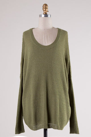 *Fav Knit Sweater Olive