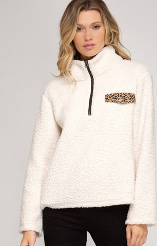 Ivory Sherpa with Cheetah Pocket Detail