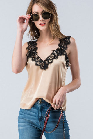 Cami Satin Lace Top in Ivory