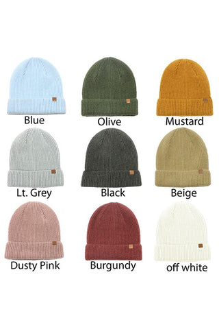 Beanie Solid Ribbed Knit