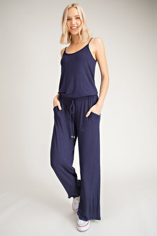 Navy Sleeveless Jumpsuit