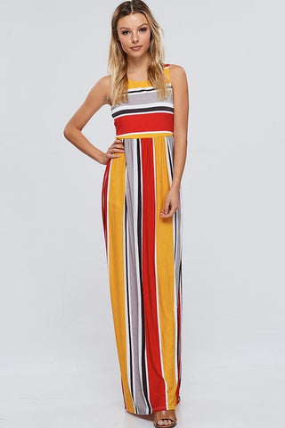 Maxi Dress Red Striped