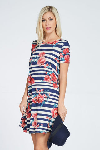Floral Striped Shift Dress Navy