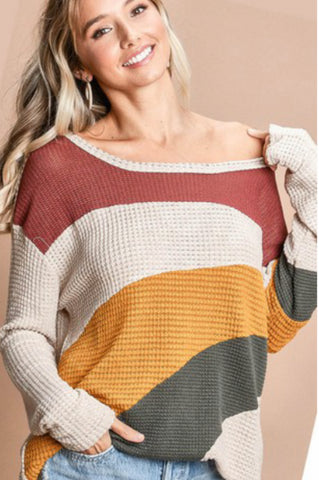 Color Block Off the Shoulder Waffle Knit Top