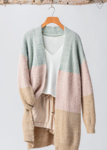 Cozy Colorblock Cardigan in Crystal Blue