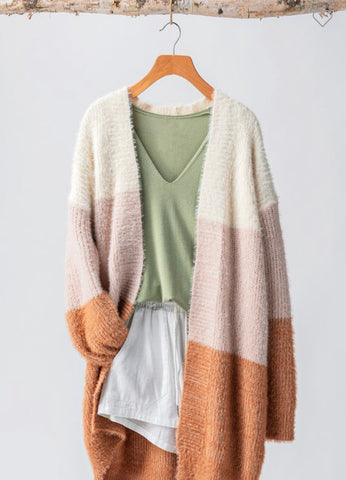Cozy Colorblock Cardigan in Rust