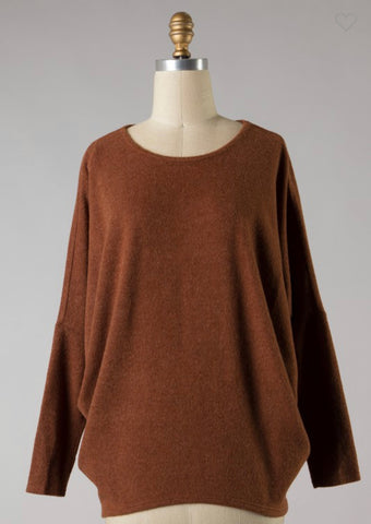 *Fleece Dolman Sleeve Top in Chestnut