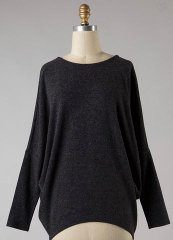 *Fleece Dolman Sleeve Top in Charcoal