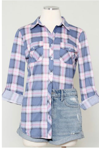 Dusty Blue and Blush Plaid Flannel