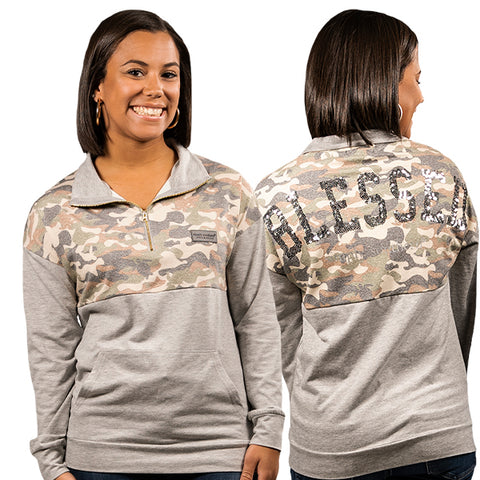 *SS Pullover Bling Back Camo