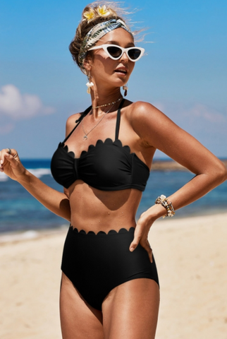 Black Scalloped Highwaisted Bikini Top