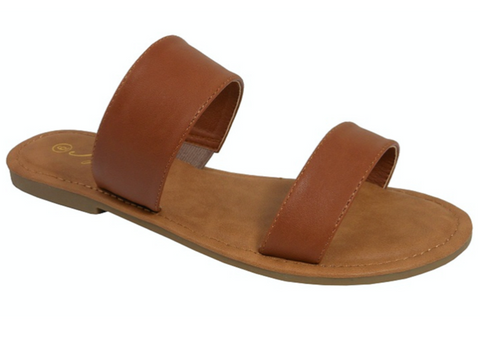 Womens Double Strap Sandals in Brown