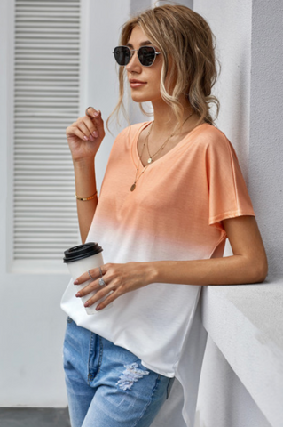 Peach Ombre Casual Tunic Top