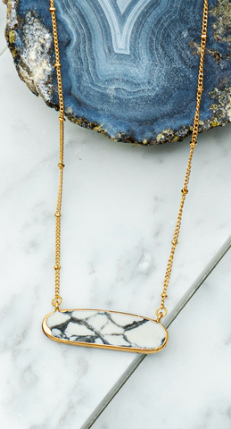 White Marble Natural Stone Necklace