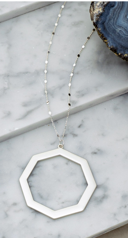 Silver Hexagon Pendant Necklace