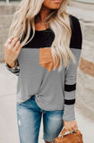 Black Striped Top with Pocket Detail