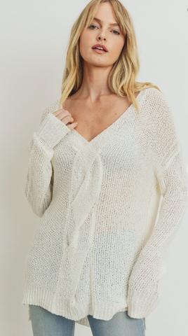 Savannah Twist Cable Knit Sweater in Off White