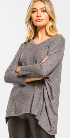 *Charcoal Soft and Cozy 3/4 sleeve Brushed Top