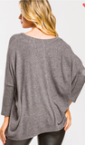Charcoal Soft and Cozy 3/4 sleeve Brushed Top