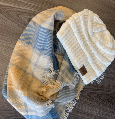 Baby Blue and Pale Yellow Infinity Scarf