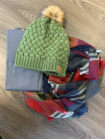 *Olive Burgundy and Navy Infinity Scarf