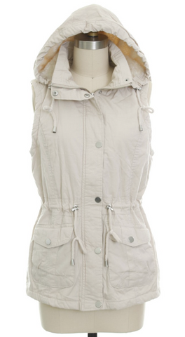*Anorak Fur Lined Hooded Vest in Stone