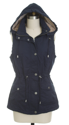 *Anorak Fur Lined Hooded Vest in Navy