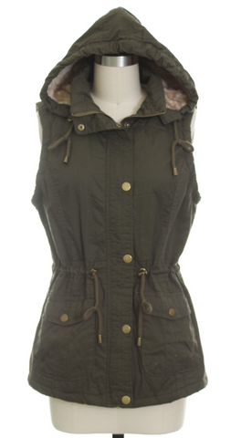 *Anorak Fur Lined Hooded Vest in Olive