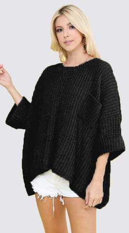 *Bella Knit Sweater with Pocket in Black
