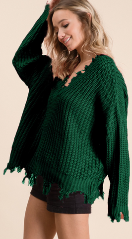 *Chelsea Distressed Sweater in Hunter Green