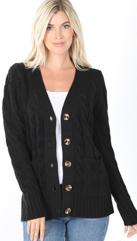 *Chunky Cable Knit Cardigan with Button Detail in Black