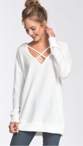 *Brushed Thermal Knit Top in Ivory