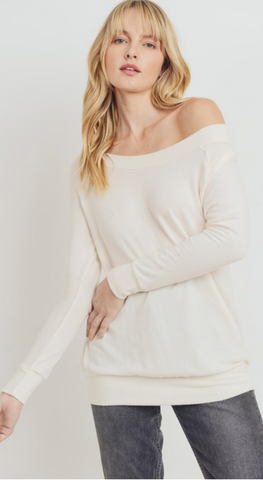 *Brushed Knit Off Shoulder Tunic Top in Ivory