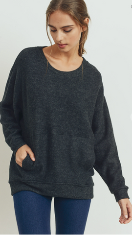 *Brushed Fleece Dolman Top with Pockets in Charcoal