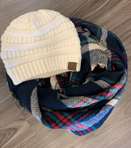 *Navy MultiColored Blanket Scarf