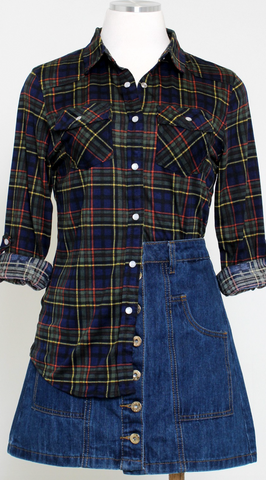 Navy Multicolored Plaid Flannel