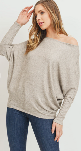 Taupe Metallic Dolman Sleeve Top