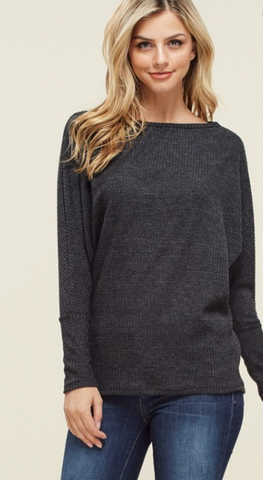 *Charcoal Knit Dolman Top
