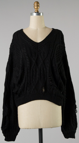 *Braided Everything Distressed Sweater in Black