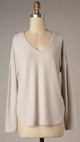 *Cassidy Round Neck Top in Taupe