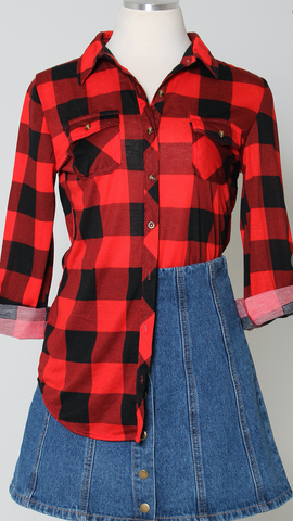 *Red and Black Buffalo Plaid Flannel
