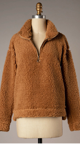 *Half Zip Sherpa in Chestnut