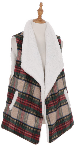Sherpa Lined Plaid Vest with Pockets