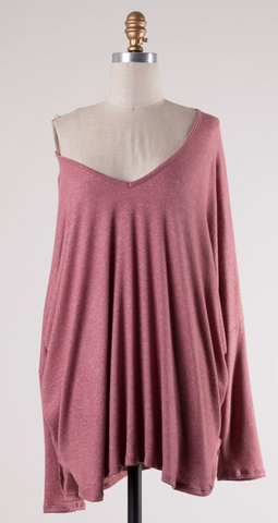Dressed To Impress Knit Brushed Top in Mauve