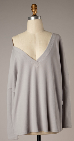 All Is Well Grey Knit Tunic Top