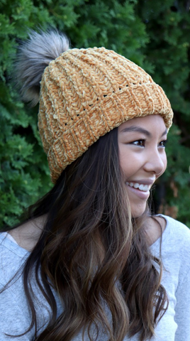 Fleece Lined Mustard Pom Pom Beanie